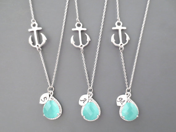 Hochzeit - Set of 1-10,Nautical, Mint, Wedding, Necklace, Marine, Anchor, Bridesmaid, Necklace, Bridal, Jewelry, Wedding, Jewelry, Set, Necklace, Set
