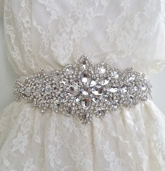 Свадьба - Luxury bridal sash, luxury bridal crystal belt, beaded bridal sash, beaded bridal belt, crystal wedding belt - DIANA DELUX II