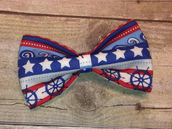 زفاف - Nautical Stripe Bow Tie, Hair Clip, Headband or Pet Bow Tie