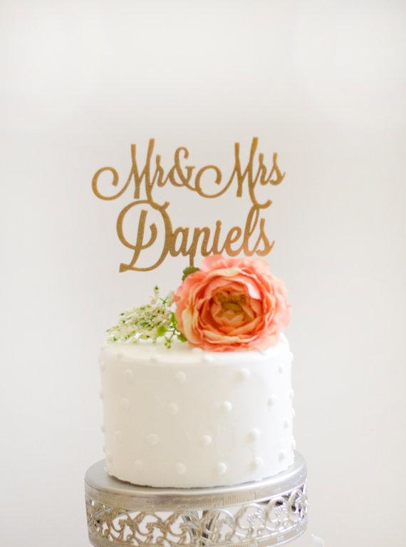 Mariage - Custom Mr and Mrs Wedding Cake Topper- Glitter Gold