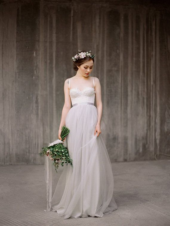 Icidora Wedding Dress Grey Ballet Inspired Gown Rustic Lace Chiffon