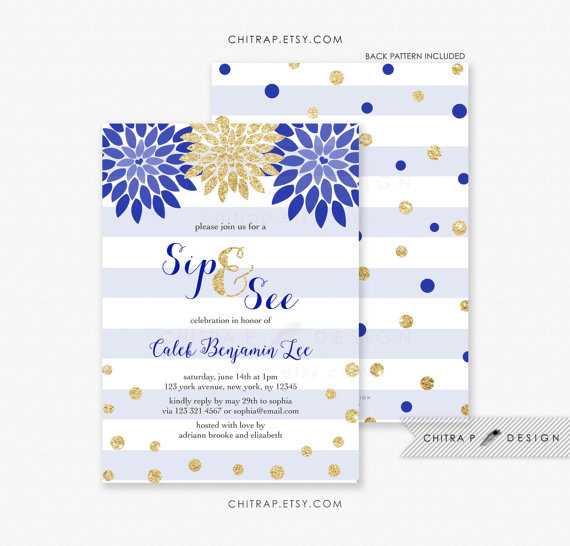 Wedding - Royal Blue Sip And See Invitation - Printed, Boy Baby Shower Striped Glitter Sprinkle Floral Brunch Confetti Couples Navy Grey White - #075