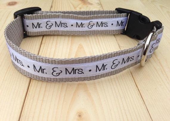 Свадьба - Mr. and Mrs. Wedding dog collar