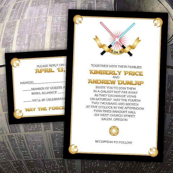 "Mariage - Custom ""Force of Love"" Star Wars-Inspired Wedding Invitations"
