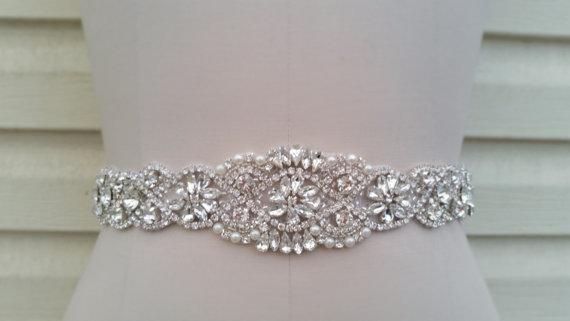 زفاف - 17 1/2 Inches - Wedding Belt, Bridal Belt, Sash Belt, Crystal Rhinestone & Off White Pearls  - Style B200099T