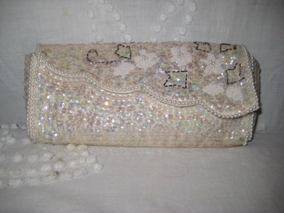 زفاف - Vintage Sequins Clutch,  wedding  bridal clutch, evening clutch, formal clutch
