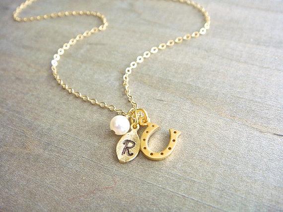 زفاف - Personalized 24K Gold Vermeil Lucky Horseshoe Necklace - Bridesmaid, Bridal, Wedding, Gift, Anniversary, Friend