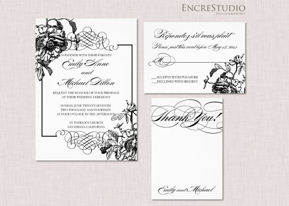 Mariage - RESERVED for Kathy - Peony Wedding Invitation Suite
