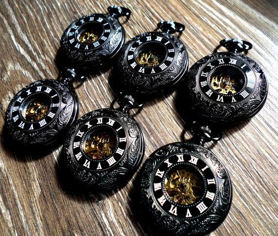 Hochzeit - Set of 6 Pocket Watches Black Roman Mechanical with Vest Chains Groomsmen Gift Grooms Corner Best Wedding Party Keepsake