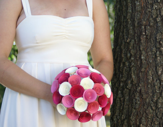 Mariage - Large Bridal Bouquet - Build Your Own Bridal Bouquet - Handmade Paper Flower Bridal Bouquet
