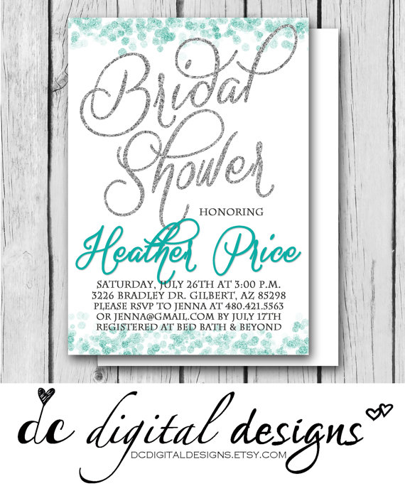 زفاف - Any Color, GLITTER BRIDAL SHOWER, Silver, Teal, White - Wedding, Bridal Shower, Baby Shower, Birthday - Digital and Printed Invitation