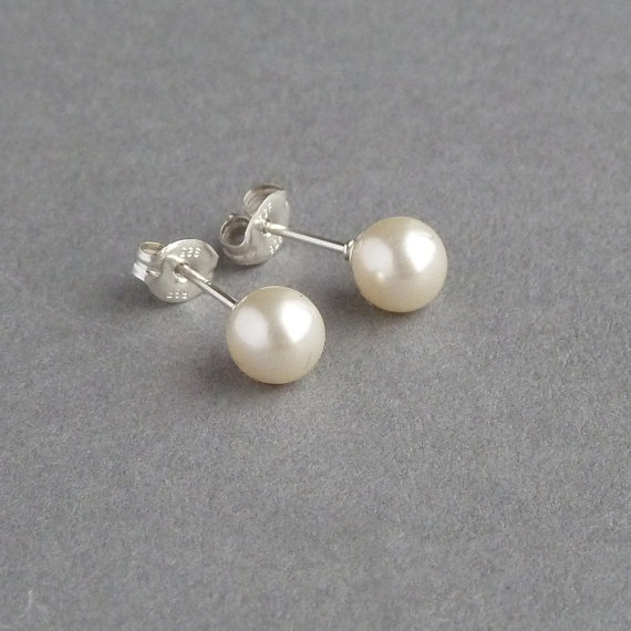 Cream Pearl Studs Vintage Swarovski Stud Earrings Bridal Jewelry Bridesmaids Gifts Post