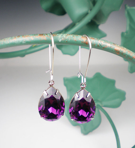 زفاف - Amethyst Rhinestone Earrings Violet Purple Swarovski Drop Earrings Wedding Jewelry Bridesmaid Earrings