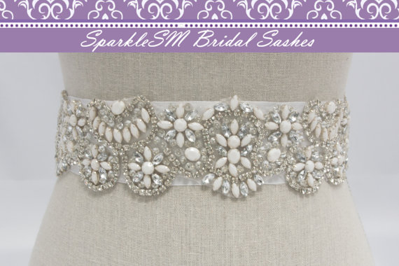 زفاف - Rhinestone Crystal Belt, Jeweled Belt, Rhinestone Sash, Wedding Belt, Bridal Accessories, Belt Pearl Bridal Sash, SparkleSM, Evangeline