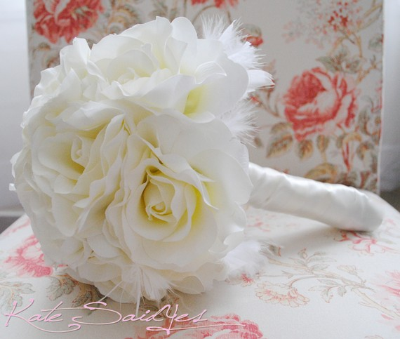 زفاف - Wedding Bouquet Ivory Rose Silk Wedding Bouquet with Feather Accents