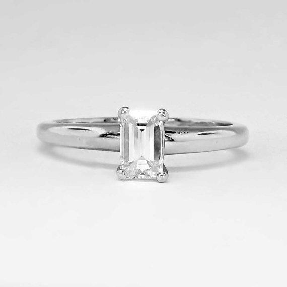 زفاف - Timeless 1970's Perfect .59ct Emerald Cut Diamond Solitaire Engagement Ring Platinum