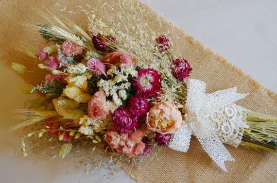 Beautiful Dried Wedding Bouquet Of Pink Peonies Larkspur Coxcomb Globe Amaranth Strawflowers