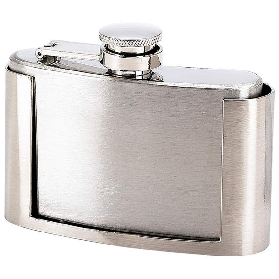 Hochzeit - Belt Buckle Flask  Stainless Steel  with Free Engraving