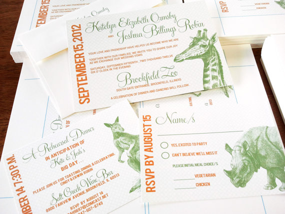 Mariage - Exotic Animal 1 Inspired Invitation Weddings or Events