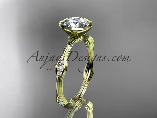 "Mariage - 14k yellow gold diamond vine wedding ring, engagement ring with ""Forever Brilliant"" Moissanite center stone ADLR21A"