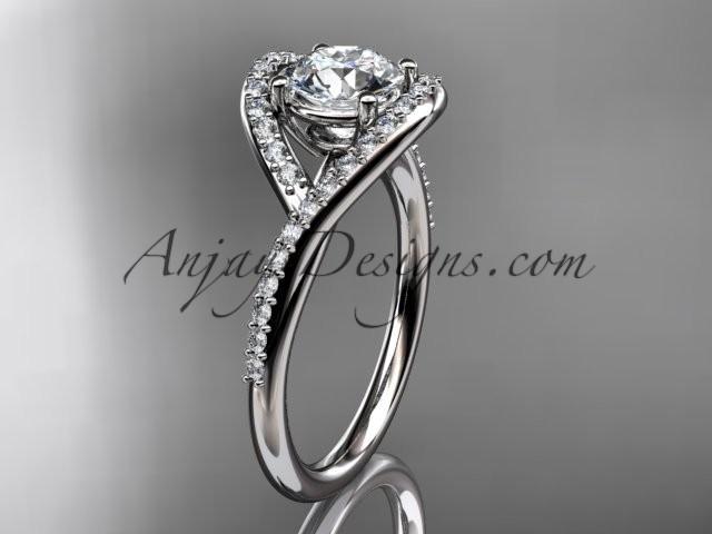 "Hochzeit - platinum diamond wedding ring, engagement ring with a ""Forever Brilliant"" Moissanite center stone ADLR383"