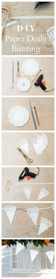 Свадьба - How To Make Paper Doily Bunting