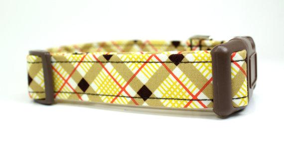 Свадьба - Plaid Dog Collar - Retro Croquet Plaid / Adjustable Dog Collar / Made to Order / Unique Dog Collar / Wedding Dog Collar