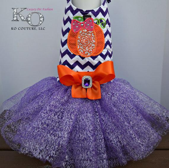 Mariage - Halloween Dog Costume Tutu Harness Dress - Pumpkin Patch
