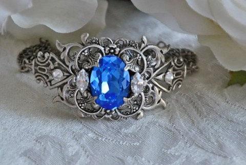 Mariage - Bridal Crystal Bracelet,Vintage Style Bracelet,Swarovski Crystal SAPPHIRE BLUE Bracelet,Filigree,Wedding Jewelry,Victorian Style,FALLON
