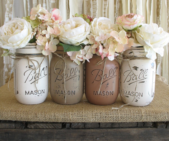 Set Of 4 Pint Mason Jars Ball Painted Flower Vases Rustic Wedding Centerpieces Creme Tan And Brown