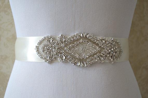 Mariage - Wedding Sash/Belt,Bridal Sash,Rhinestone Sash,Beaded Sash- Ivory Wedding Sash