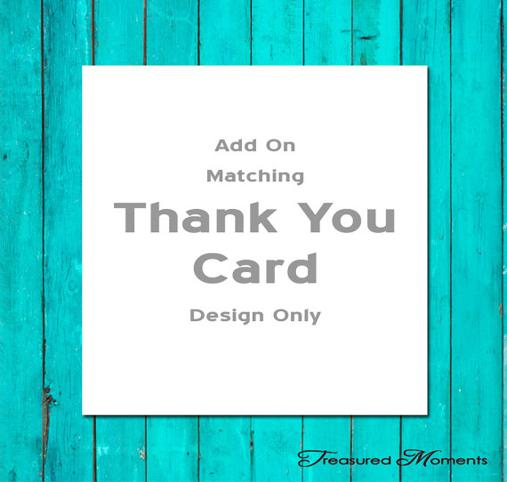 Wedding - Add On a Matching Thank You Card Design Only Wedding Thank You Card Shower Thank You Card Birthday Thank You Card