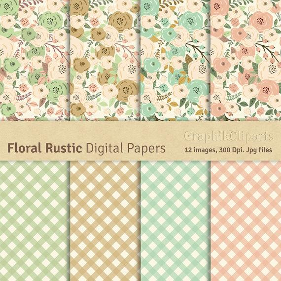 Floral Rustic Digital Papersrustic Flowers Floral Wedding Paper