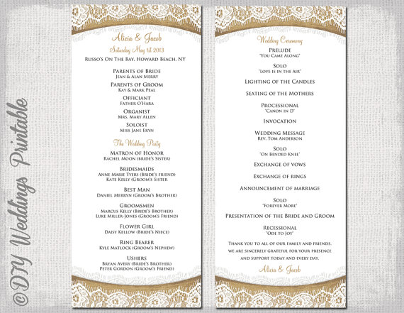 wedding ceremony itinerary template - rustic wedding program template burlap lace diy ecru