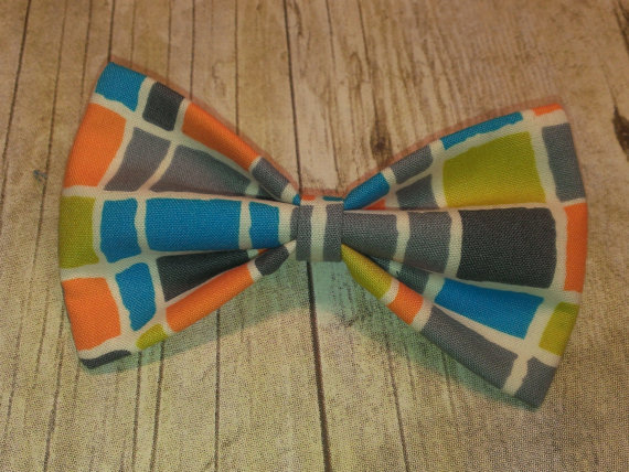 Mariage - Gray Squares Bow Tie, Hair Clip, Headband or Pet Bow Tie
