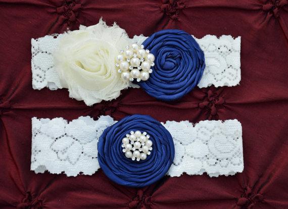 Mariage - Ivory/Navy Wedding Garter Set
