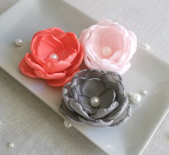 Mariage - Coral red, Coral pink, Taupe Gray fabric flowers in handmade, Bridesmaids dress sash flowers accessories, brooch hair clip pin grip  gift
