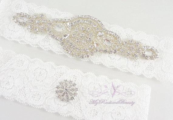 Mariage - Bridal Garter, Wedding Garter, Garter, Crystal Applique Garter, Garter Set, Rhinestone Garter, Handmade Custom Garter, Beaded Garter GTA0025