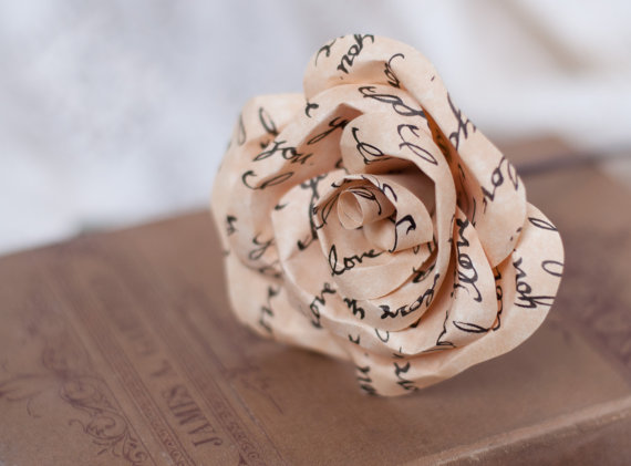 Свадьба - Paper Parchment Rose with Hand Written Message