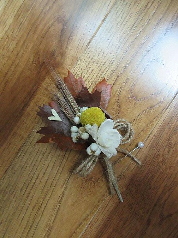 Свадьба - Boutonniere, Fall Boutonnniere,  Ready to ship, Rustic Leaf Boutonniere, Weddings, Burlap Boutonniere