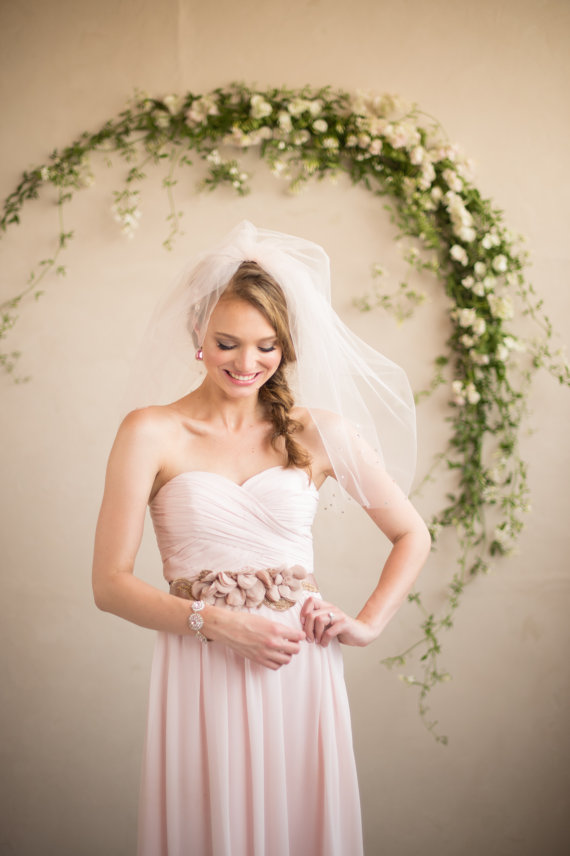 Свадьба - Fingertip Bridal Veil, Wedding Blusher, Blush Pink Tulle Crystal Beaded Double Layer Drop Puff Romantic Veil, Camilla Christine KATE BLUSH