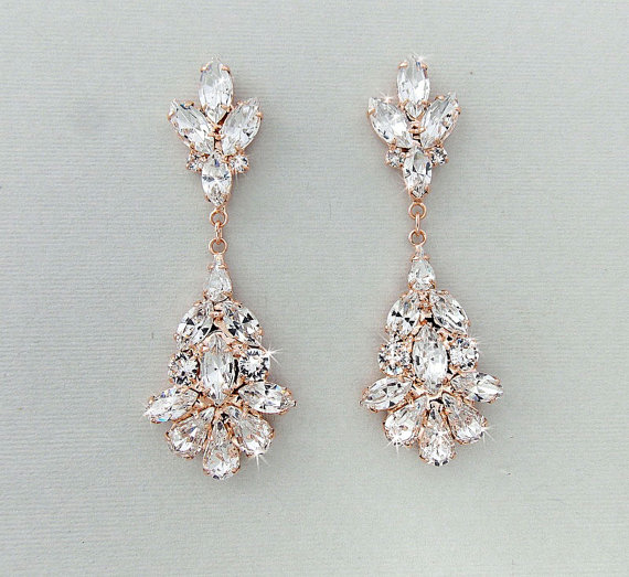 Wedding Earrings Chandelier Bridal Rose Gold Crystal Dangle Jewelry Blanche