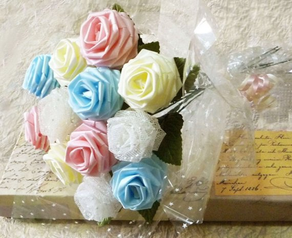Свадьба - Origami Pastel Colored Rose Bouquet - Melody Style (1 Dozen Gift Wrapped)