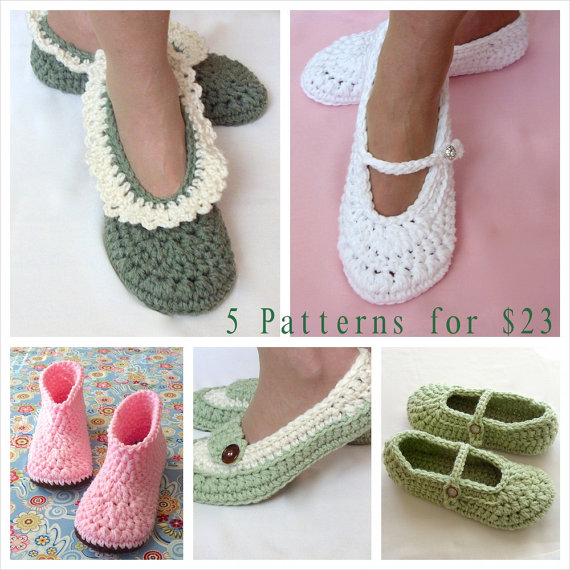 Свадьба - Crochet Pattern Sale, 5 Patterns, Women s Slipper Patterns, Wedding Reception Shoes, Loafer, Mary Jane, Slipper Boots