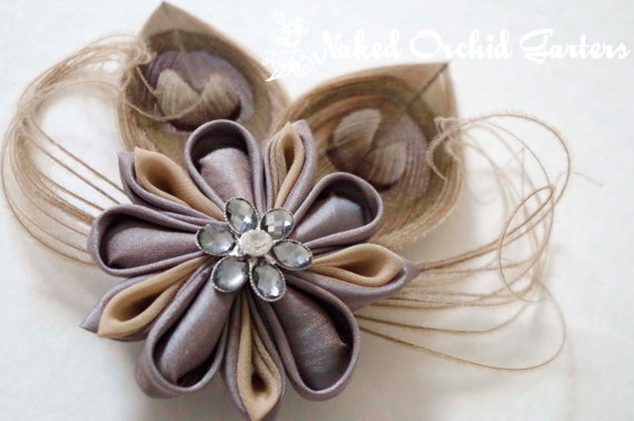 Mariage - PEACOCK Fascinator, Champagne BIRDCAGE Veil, Kanzashi Wedding Hair Flower Clip, Taupe, Latte, Mocha, Platinum, RUSTIC Hair Piece, Head Piece