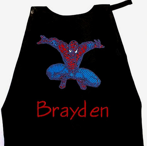 زفاف - Super Hero Cape, Spiderman  Kid's Cape, Superhero, Costume Cape,  Embroidered  Personalized with Name