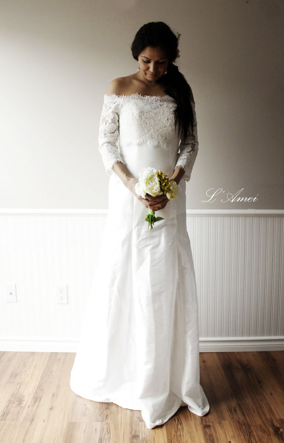 Свадьба - Off shoulder Ivory white Lace Wedding Dress , Custom Long Bohemian Wedding Gown