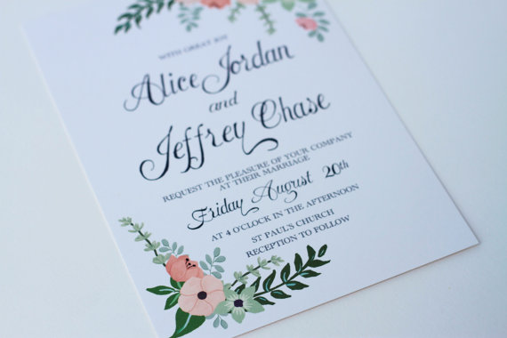 Mariage - Hand Painted Floral Wedding Invitation with Mix of Peach and Mint Flowers & Hand Written Calligraphy