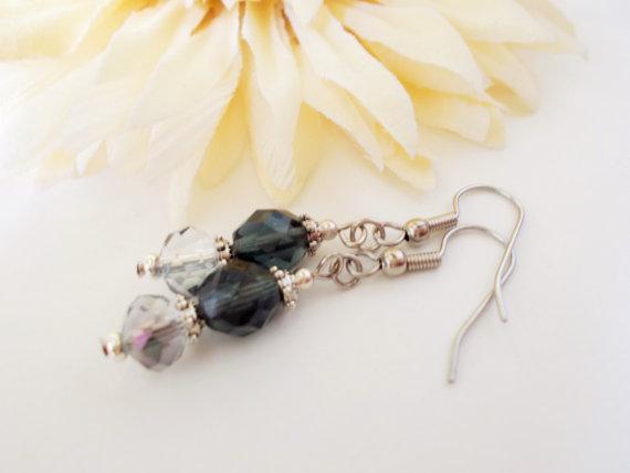 Hochzeit - Dark Blue Earrings, Storm Blue Earrings, Sky Blue Earrings, Cobalt Blue Earrings, Bridal Earrings, Bridesmaids Earrings, Czech Glass Jewelry