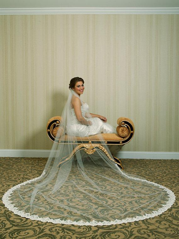 Свадьба - Wedding Veil - Cathedral Length with Beaded Alencon Lace At Bottom Edge - Ivory